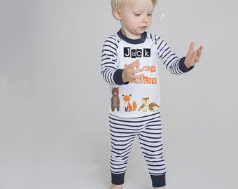 d4b8076d4e Woodland personalised birthday pyjamas - blue stripe pyjamas