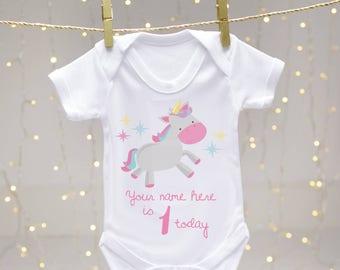 Personalised 1st Birthday Unicorn Baby Vests