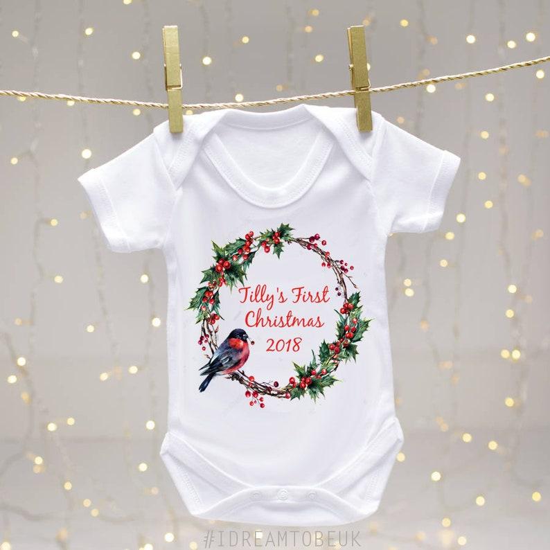 3b5abb2c9 Personalised First Christmas 2018 Baby Bodysuit Christmas