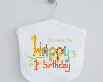 Jungle Birthday 1st baby bib - personalised bib, dribble bib, drool bib, burping bib, cake smash, animal birthday, giraffe, zoo animal bib