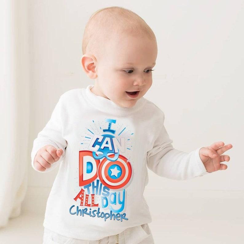 eb34dbd2 Avengers Captain America personalised T-shirt Marvel baby   Etsy