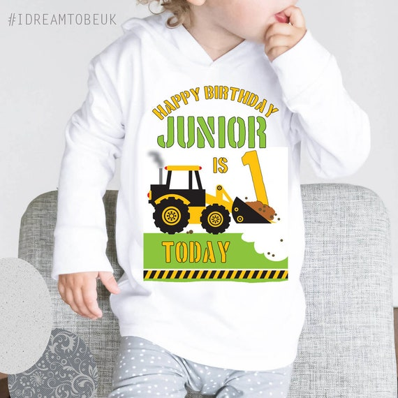 Personalised boys girls hoodie farming tractor digger construction ANY NAME