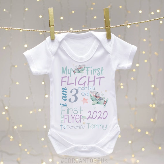 First Holiday Embroidered Baby Romper Babygrow Gift 1st Personalised Boy Girl