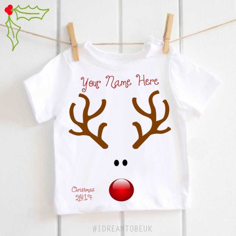 Personalised Xmas Outfit With Childs Name, Christmas Reindeer T-Shirt For Boys