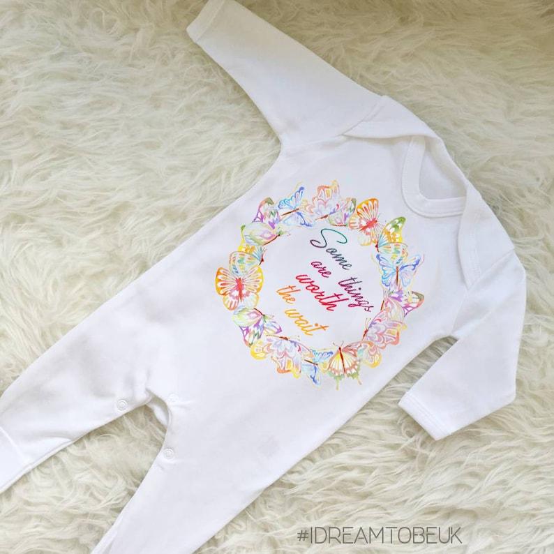 IVF baby miracle baby baby shower gift Worth the wait baby bodysuit rainbow baby pregnancy onesie baby vest,girl birth announcement