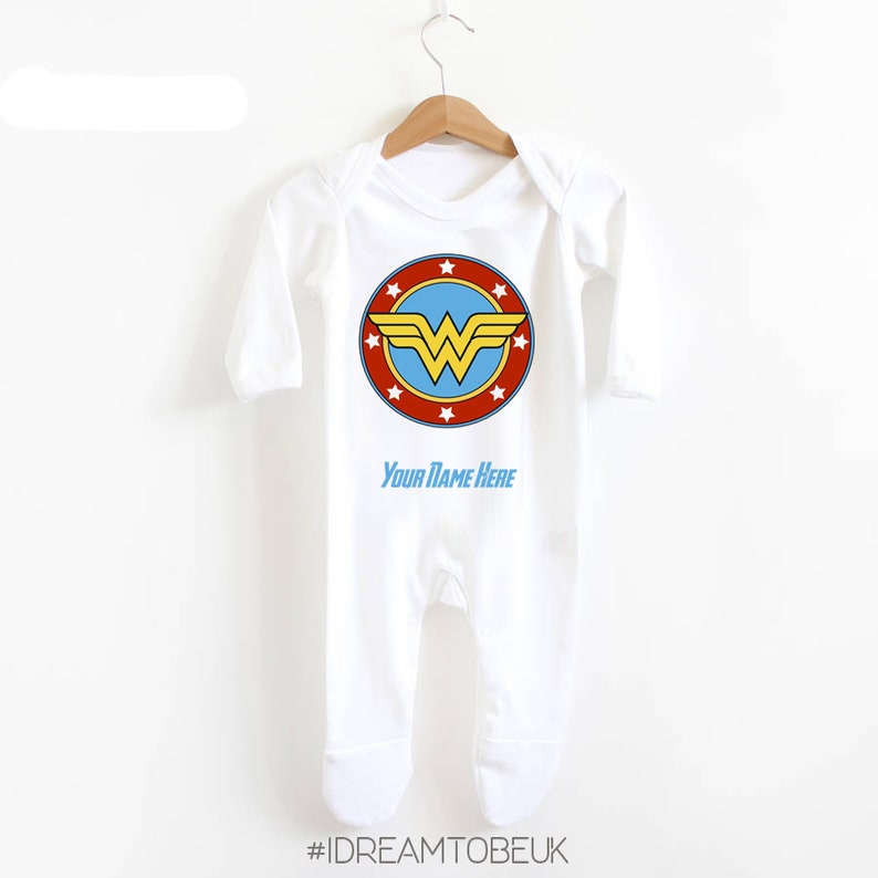 68a2a1ca2a8 Wonder woman baby romper baby shower gift super hero