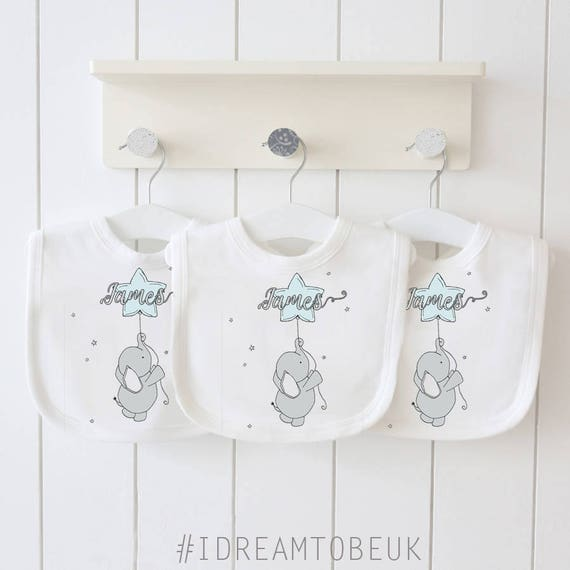 FOOTPRINT AND STARS DESIGN. PERSONALISED BABY BOY//GIRL BANDANA DRIBBLE BIB