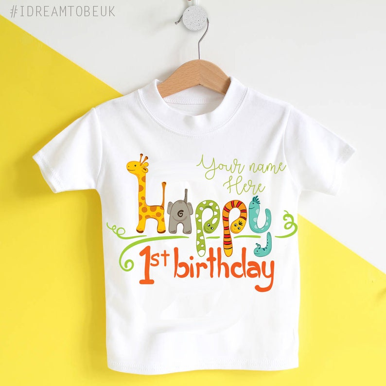 2d2bff0af2fae 1st Birthday personalised T-shirt - Jungle animal birthday, happy birthday  top, personalised top, elephant, giraffe, first birthday, gift