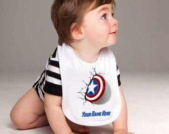 Captain America baby bib - personalised bib, marvel, the avengers, super hero, cake smash, baby shower gift, birthday bib, dribble bib