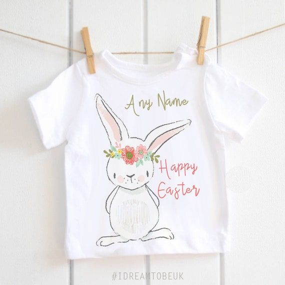 Personalised Name Easter Bunny T Shirts Children/'s Kids Boys Girls Top Eggs 543