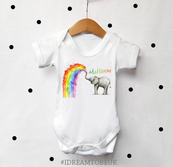 3327cdb72 LGBTQ rainbow baby personalised baby vest baby elephant Gay