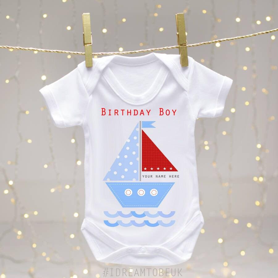 PERSONALISED baby boy clothing 1st birthday babygrow//vest first Birthday gift