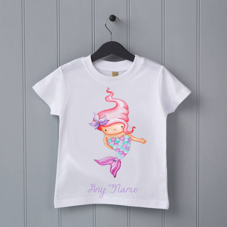 b90657dc Mermaid personalised T-shirt baby shower gift toddler top | Etsy