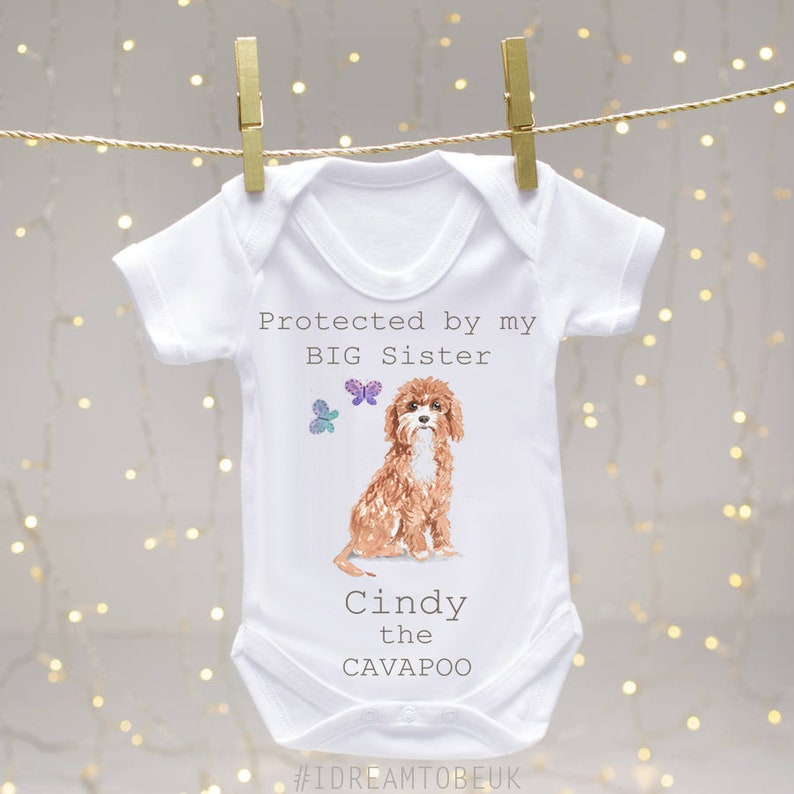 pregnancy reveal Golden Retriever personalised baby bodysuit dog sibling big brother baby announcement puppy dog bodysuit big sister