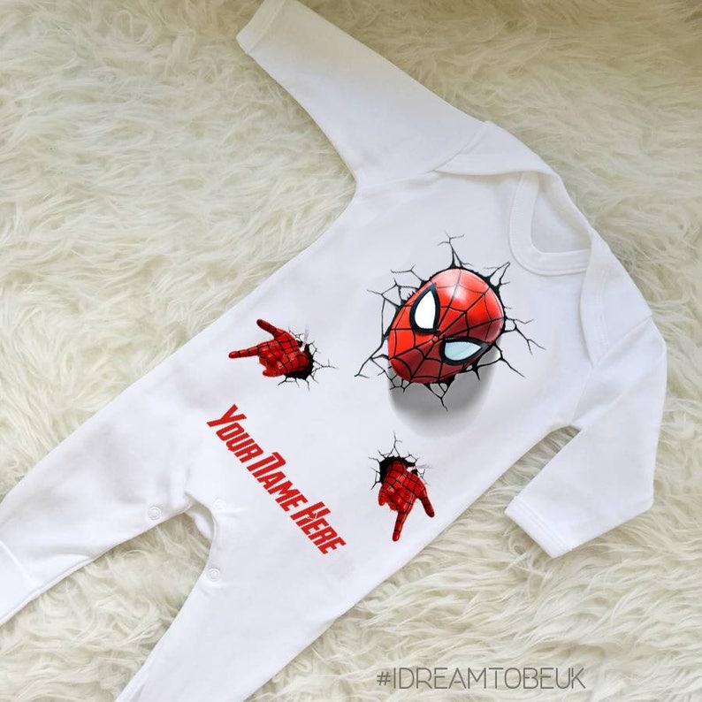 0a34ee2ef04 Spiderman baby sleep suit personalised romper marvel baby
