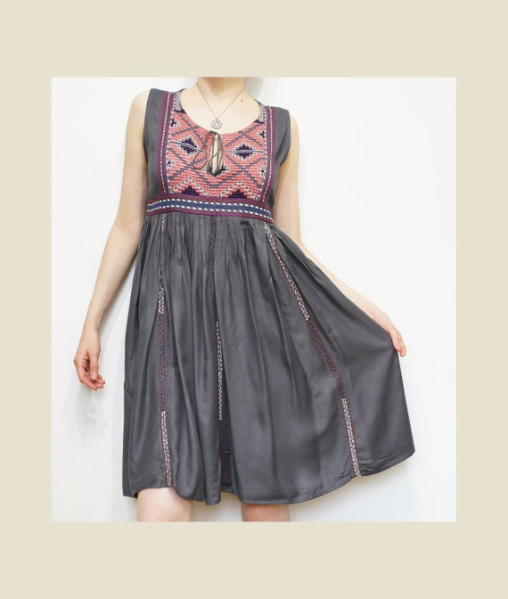 Vintage Print Dress, Russian Grey Pink Flare Skirt