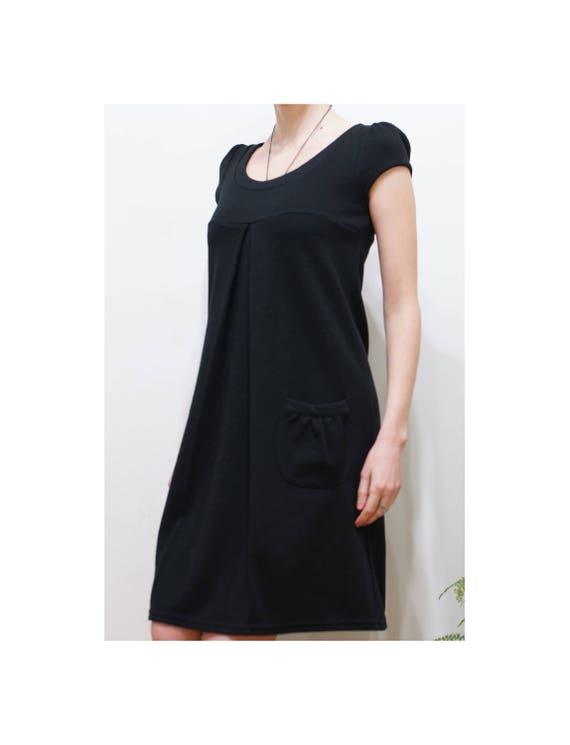 Classic Black Dress, Wool Black Dress, Maternity W
