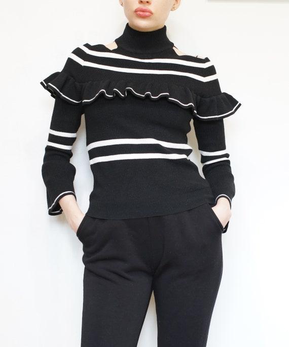 Vintage Black Top, Black  Pullover, Stripe Sweater