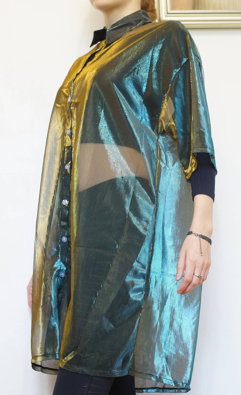 Duochrome Holographic Top Festival Tunic Bohemian Green Shirt Green Blue Women Sheer Blouse Transparent Mesh Half Sleeve Shirt