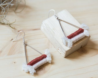 Boho earrings//brick red-mustard-camel//brass finish Silver 925