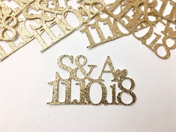 Save The Date Confetti - Personalized Confetti - Inital Confetti - 50 Pieces - Bridal Shower Confetti - Monogram Confetti - Name Confetti