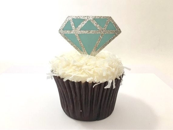 Diamond Cupcake Toppers - Cupcake Toppers - Wedding Cupcake Toppers - Bridal Shower Cupcake Toppers - Diamond Cupcake Toppers