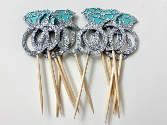 Engagement Ring Cupcake Toppers - 12 Pieces - Cupcake Toppers - Wedding Cupcake Toppers - Bridal Shower Cupcake Topper - Robins Egg Blue