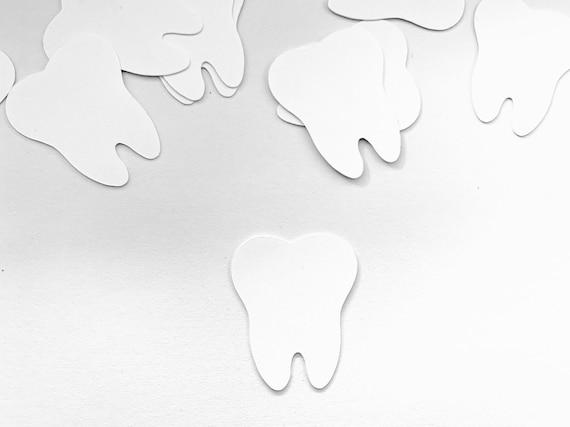"Dental Confetti - 50 Pieces - 1"" - Dental School Confetti - Dental Party - Tooth Confetti -  Dental Party Supplies - Tooth Fairy Confetti"