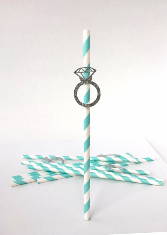 Engagement Paper Straws - Engagement Ring Paper Straws - Wedding Straws - Bridal Shower Paper Straws - Engagement Ring Straws - Paper Straws