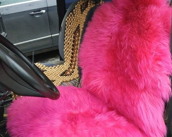 Sheepskin Car Seat Cover Pink Black Universal Genuine Warm Cape For Handmade Chair Pad