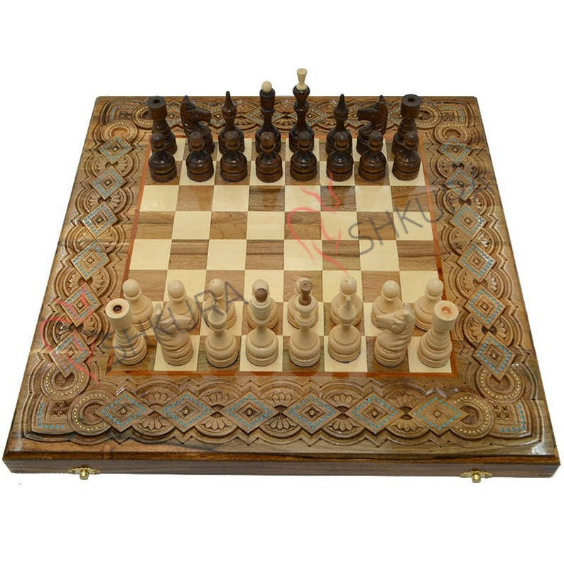 Wooden Chess Set Backgammon Of Wood Chessboad Chess Pieces Etsy