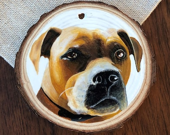 Custom Hand Painted Wooden Ornament - Dog Portrait - Double Sided