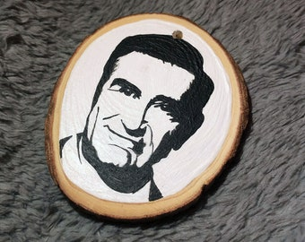 Hand Painted Wooden Ornament Double Sided - Schitt's Creek Johnny Rose Portrait