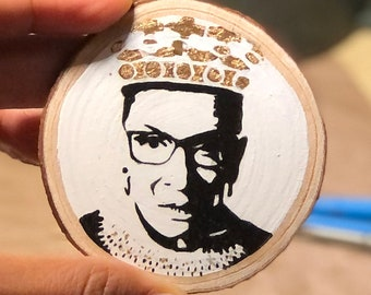 Hand Painted Wooden Ornament with Gold Leaf - Ruth Bader Ginsburg Portrait