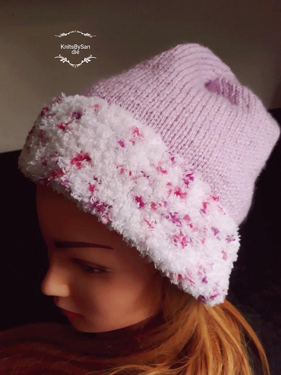 3fe6a955246 Ladies pink handknitted beanie snuggly hat ladies pink