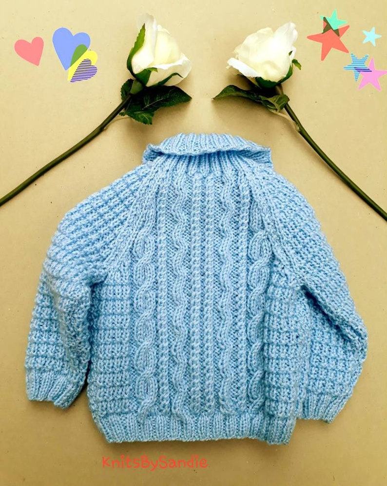 Handknitted Blue Jacket Blue Baby Jacket Baby Handknitted Cardigan ...