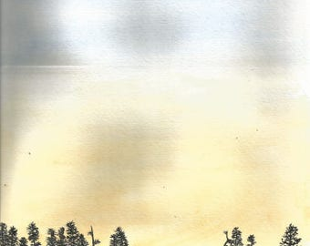 Sunset with Moon and Tree Silhouettes Painting