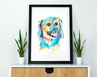 Pet Portrait Watercolor - Watercolor Pet Art, Animal Portraits Custom, Watercolor Pet Painting, Dog Portrait, Cat Painting, Christmas Gift