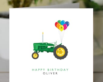 Tractor Birthday card - Personalised Tractor card - Birthday card for Farmer - Childrens tractor themed birthday card - Kids Tractor card