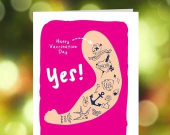 Vaccination day card, Vaccination date card, Had your Jab card, Jab Day card, Covid vaccination card, Tattoo card