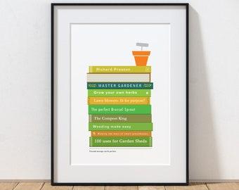 Personalised Gardeners Print, Print for Gardener, Book Print, Gardening Gift Print, Personalised Book Titles Print, Gardening Books Print.