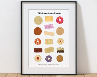 Biscuit Print, This House Loves Biscuits Personalised Print, Biscuit Poster, Kitchen Art, Kitchen Print, Biscuit Art Print, British Biscuits