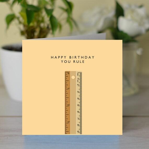 Si Regola Happy Birthday Card Carta Di Gioco Di Parole Etsy