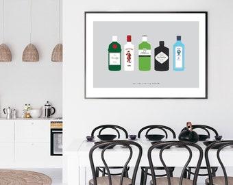 Gin Print, Gin Poster, Gin Art, Gin Bottles Print, Gin Lover Gift, Gin Wall Art, Gin & Tonic, Let the Evening BeGIN print