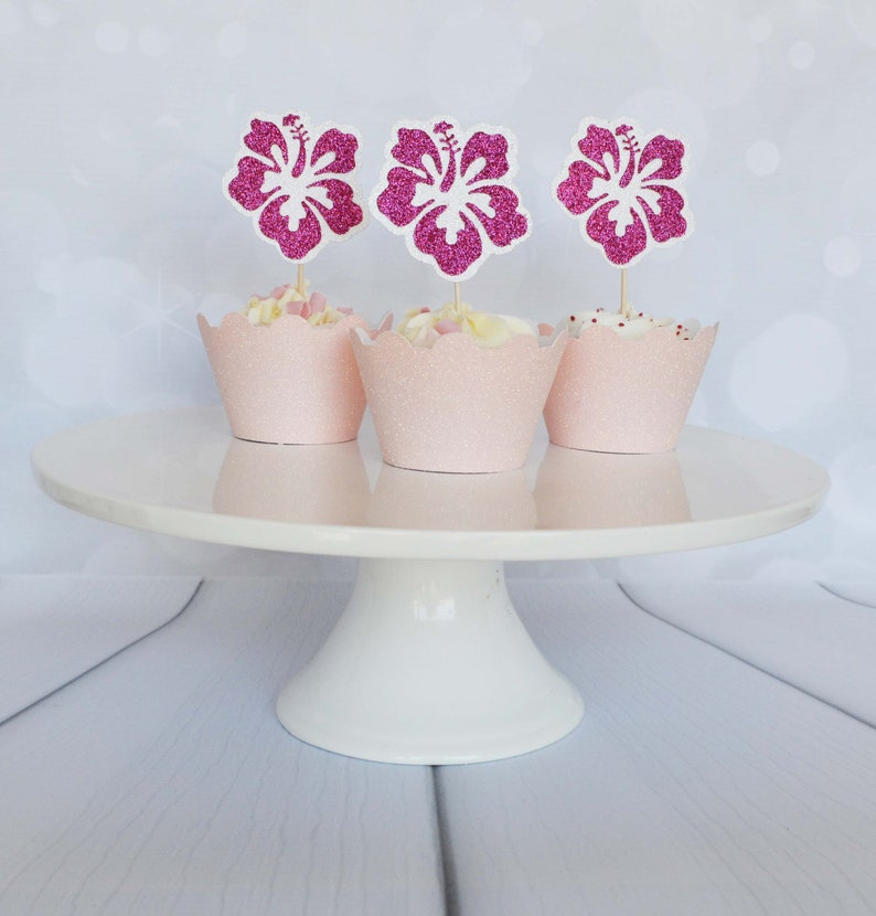 Hibiscus Flower Cupcake Toppers Tropical Bachelorette Etsy