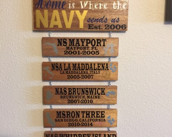 Home is where the .... sends us.  Family memories wall decor.  Available in Navy, Marine Corps, Army, Air Force, and Coast Guard.