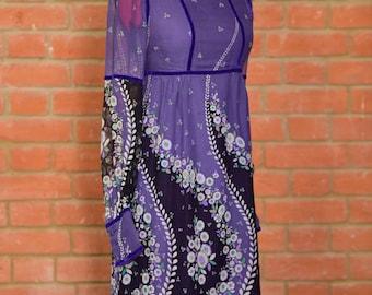 Anna Sui original vintage style empire line dress 100% silk w velvet trim