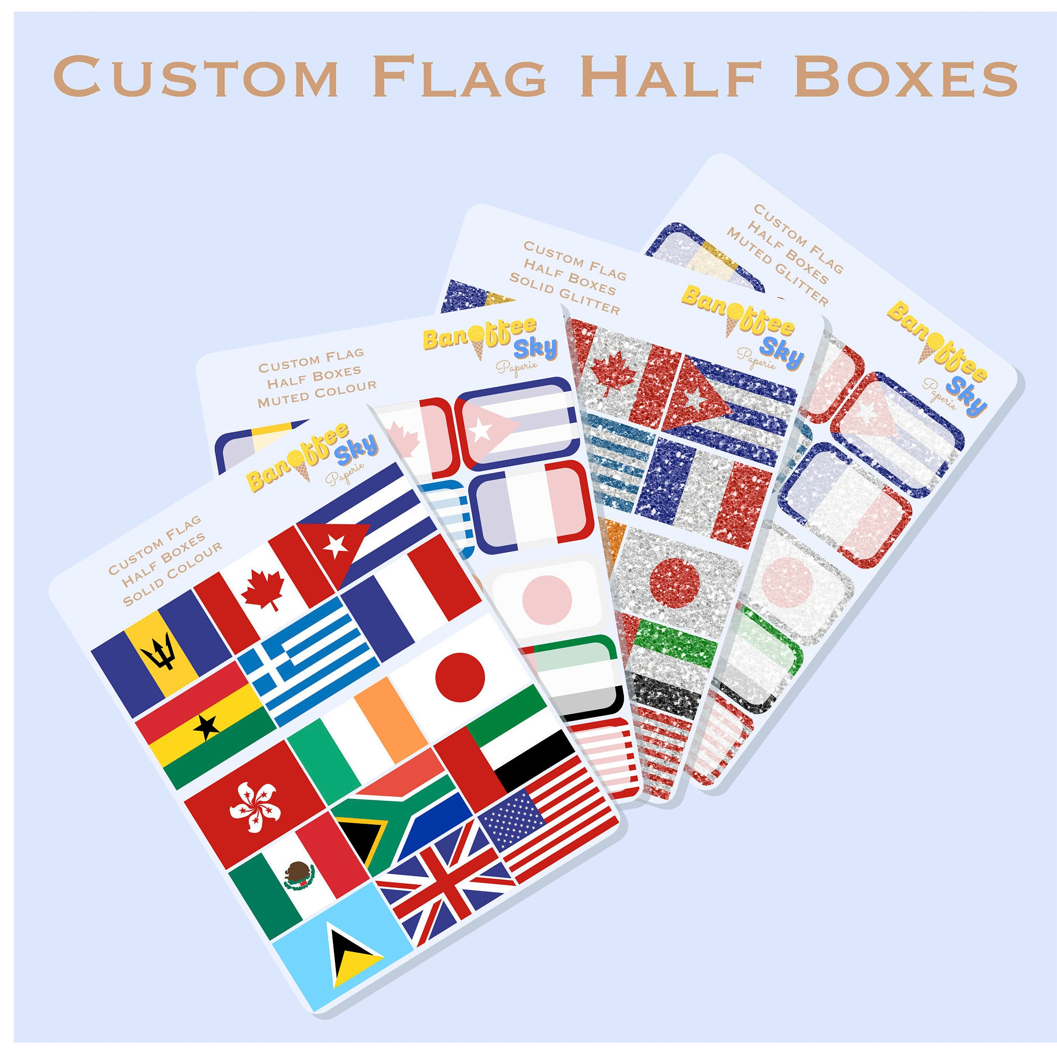 15 custom flags half box planner stickers etsy