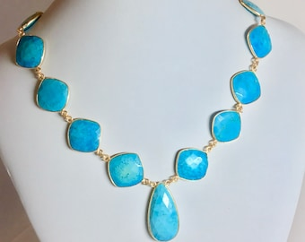 Natural Turquoise Faceted Necklace