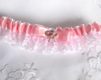 Jarretière rose et dentelle/jarretelle rose/accessoire pour la mariée